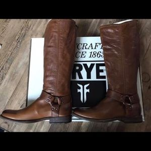 Frye Phillip tall boots in cognac leather.